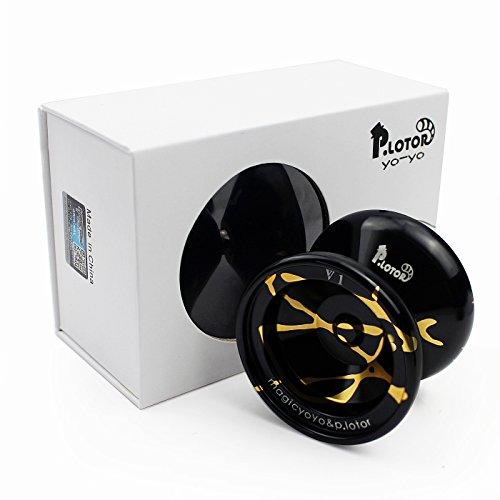 No Responde YOYO,P.lotor Diseño más nuevo V1 Aleación pulida Aluminio Bola profesional Yo-yo con paquete de regalo(negro)