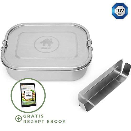 Edelstahl Brotdose auslaufsicher 1400ml inkl. flexibler Trennwand | inkl. Rezept E-Book | Frischhaltedose für Kinder & Erwachsene