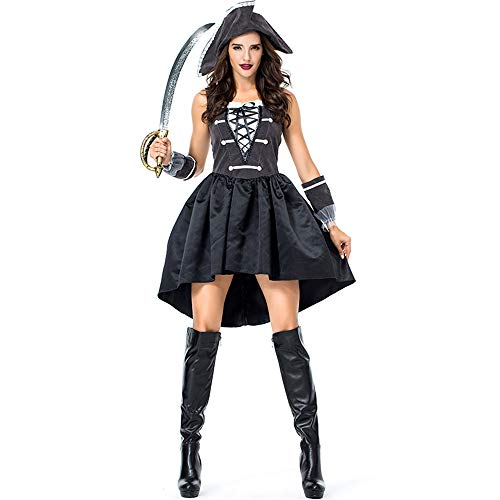 GIFT ZHIZHUXIA Womens Ladies Black Pirate Wench Kleid Halloween Cosplay Kostüm Weihnachtsfeier Kleid Requisiten (Farbe : Photo Color, größe : XL) (Pirate Wench Kostüm Für Erwachsene)