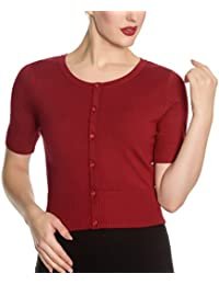 Hell Bunny Ladies 50s Wendi Plain Short Sleeved Cardigan Top Red All Sizes