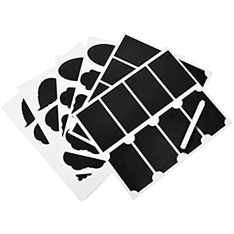 Justmysport Etiquetas de Pizarra Autoadhesivas con Marcador Tiza Rotulador Pegatinas Etiquetas de Pizarra Impermeables Reutilizables para Frascos de Alimentos o de Especias Para Uso de Oficina Cocina Casa - Color Negro