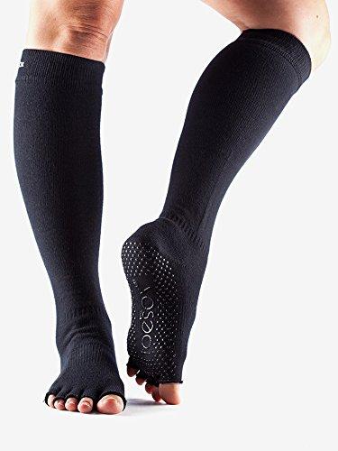Scrunch 1 par mitad Toe algodón biológico rodilla ToeSox-Calcetines para mujer Negro negro Talla:39-42