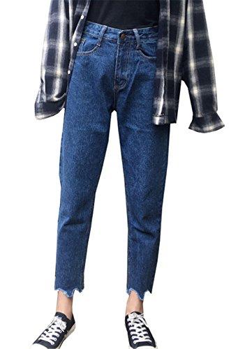 COCO clothing Vintage Boyfriend Jeans les Mujer Vaqueros Cintura Alta Tapered Pantalones Tejana Ripped Harem Cargo Pants 7/8 para Senora (azul claro, M)