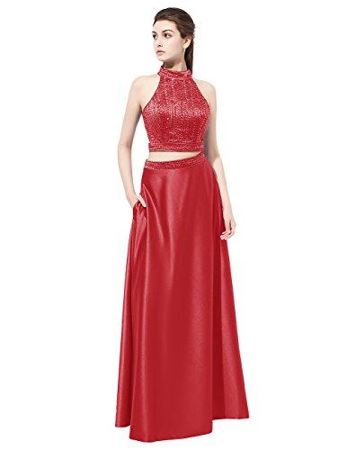 Dresstells Robe de cérémonie Robe de bal en satin emperlée deux pièces longueur ras du sol Rouge Foncé