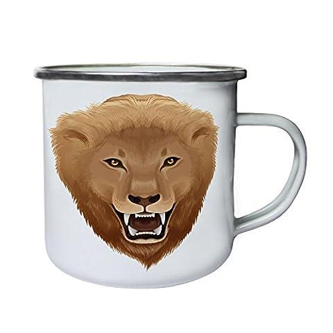 Nouvelle Illustration De Lion Panthera Leo Rétro, étain, émail tasse 10oz/280ml h491e