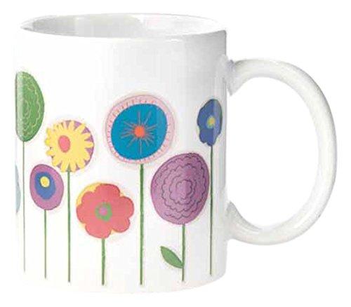 Kikkerland CU135 Mug à Fleurs Chine Blanc 8 x 9,5 x 12 cm