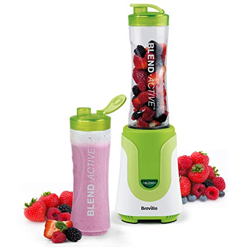 Breville Blend Active Personal Blender & Smoothie Maker with 2 Portable Blending Bottles (600ml), 300W, Green [VBL062]