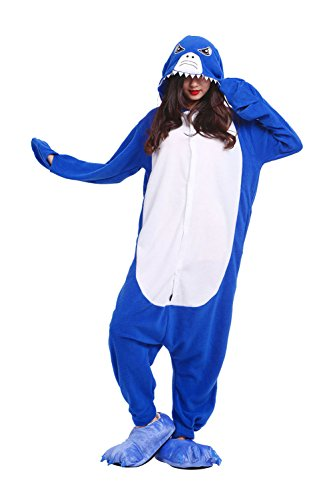 DarkCom Frauen Soft All In One Sleepsuit Cartoon Hoodies Schlafanzug Halloween Cosplay Kostüme Blau Shark X-Large (Shark Damen Kleid Kostüme)