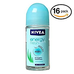 (Pack of 16 Bottles) Nivea ENERGY FRESH Womens Roll-On Antiperspirant & Deodorant. 48-Hour Protection Against Underarm Wetness. (Pack of 16 Bottles
