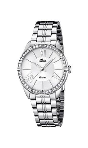 7d53c94440fa Lotus Reloj de cuarzo para mujer con plata esfera analógica pantalla y plata  pulsera de acero inoxidable 18130 1