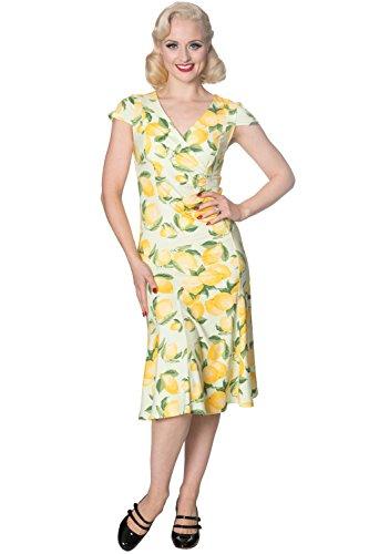 Verbotene Lagune Retro Weinlese-Zitrone Kleid - UK-14 Fitted Wiggle Dress