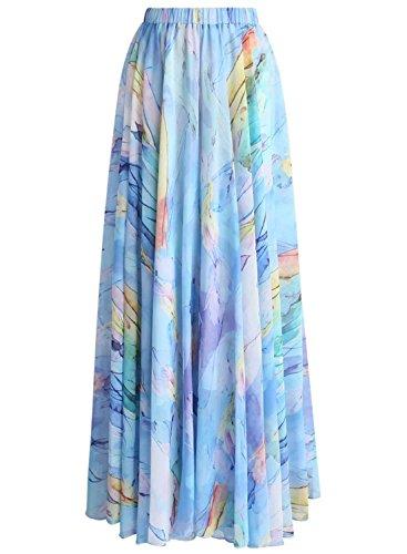 Annflat Women's Floral Printed Frill Chiffon Maxi Skirt
