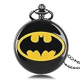 Batman Logo acabado negro de lujo caso hombres de cuarzo reloj de bolsillo collar–en 32pulgadas/80cm cadena