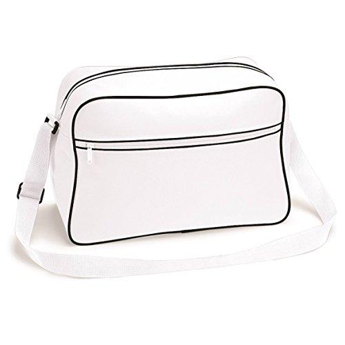 Große Retro Schultertasche Von Bagbase - 15 Farben Verfügbar White black