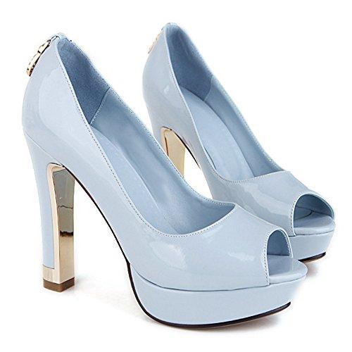COOLCEPT Femme Mode A Enfiler Chaussures Basae Peep Toe Platform Talon Bloc Escarpins Chaussures Bleu