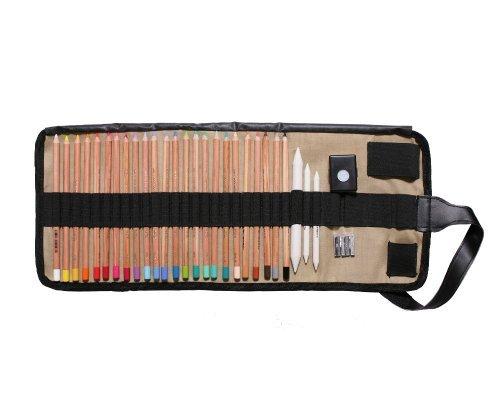 24 KOH-I-NOOR Gioconda Pastellstifte Pastellkreiden Stifte im Stiftegürtel (Rolltasche) plus Zubehör (Knetgummi, Papierwischer)