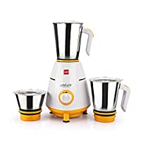 Cello Grind N Mix 800- 3 Jar Mixer Grinder, 500W Yellow