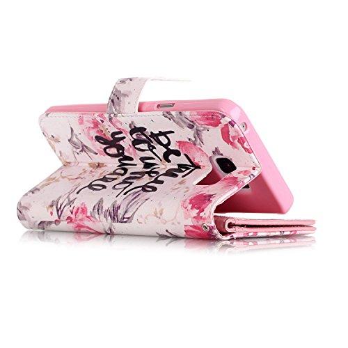 Samsung Galaxy Note 5 Hülle, SainCat Ledertasche Brieftasche im BookStyle PU Leder Muster Hülle Wallet Case Folio Schutzhülle Bumper Handytasche Backcover Handy Tasche Flip Cover Buchstil Klapptasche  Englisch Petals