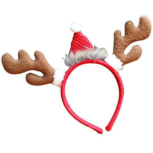 Hunde Kostüm Antlers Für - FeiyanfyQ Weihnachts-Haarband für Kinder und Erwachsene, Rentier-Geweih, Hirsch, Horn, Stirnband für Weihnachten, Party, Kostüm Brown-Antlers