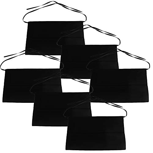 Mge - grembiule corto cameriera cameriere - grembiule ristorante con cintura regolabile - con tasche - set di 6 pezzi - 54*34 cm - nero