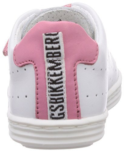 Bikkembergs Soccer Capsule Low G06, Premiers Pas Sneaker Bébé Fille Multicolore (Leather White/Pink)