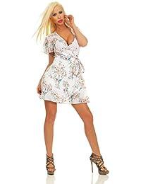 Fashion4Young 3990 Damen Mini Kleid Wickelkleid Sommer Kurzarm Blumen Minikleid Rückenfrei Dress