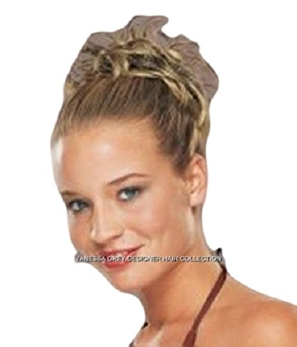 New Style Hair Extension Med Brown / Gold Scrunchie Up Do Bun Up Mult Tones Spiky Twister by Vanessa Grey Hair Designs
