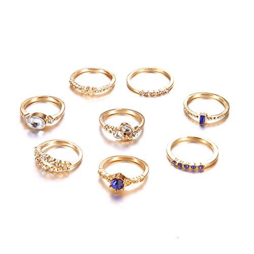 ing Einfache Flash Diamant Joint Ring Set Ring für Frauen Modeschmuck Geschenk Gold Farbe ()