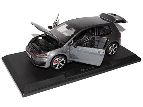 Norev Volkwagen Golf VII 7 GTI Karbon Stahl Grau Schwarz 3 Türer Ab 2012 1/18 Modell Auto mit individiuellem Wunschkennzeichen