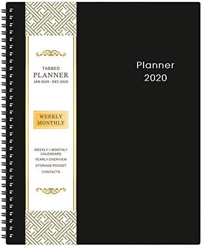 2020 Agenda - Académique Planificateur Hebdomadaire et Mensuel de 9,2' x 11', avec Poche Intérieure, Couverture Flexible, Onglets Mensuels, 21 Pages Supplémentaires, Reliure à Deux Fils