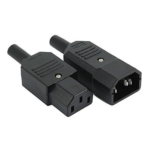 sourcingmap® 1PaarAC250V10A3P Schalttafelmontage IEC320C14SteckdoseC13Stecker Adapter Stecker
