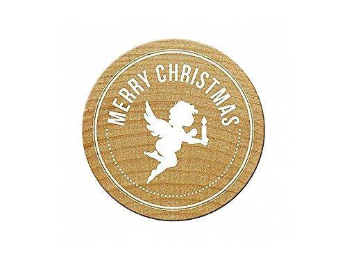 "Woodies Stempel / Motivstempel ""Merry Christmas Engel"" ø 30 mm"