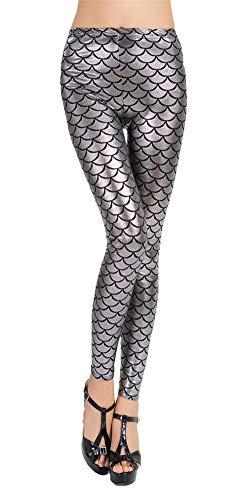 Insun Damen Leggings Glänzend Sexy Hose Karneval Kostüm Meerjungfrau Fisch Silber - Silber Fisch Kostüm