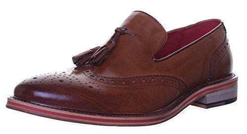 Reece Justin-dérapant Rouge à pompons Design Loafer garniture aspect cuir-Taille 18–19 Marron - Brown WE1