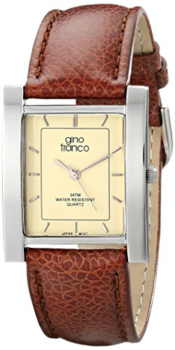 gino franco Men's 924TN Square Stainless Steel Genuine Leather Strap Watch