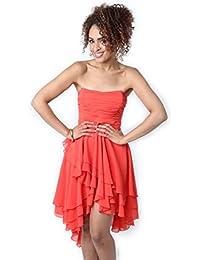 Lipsy Strapless Chiffon Dress Coral (Size 8)