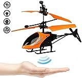 YAYATOY Hélicoptère, Infrarouge Main Induction Hover RC Helicopter, LED Brillant Avion Jouets Volants, Drone pour Les Enfants À Induction Infrarouge,Orange