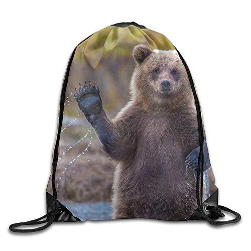 Sporttasche mit Kordelzug, Sportrucksack, Reiserucksack, Cute Bear Wave Hands Unisex Outdoor Rucksack Shoulder Bag Travel Drawstring Backpack Bag - Se Jugend-schuhe