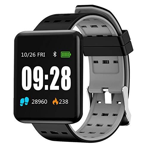 KJHG Smart Watch-Wasserdichter Fitness-Aktivitäts-Tracker mit tragbarem Herzfrequenzmesser/Oximeter/Blutdruck-Armbanduhr, Bluetooth-Laufschrittzähler-Sportarmband,Gray