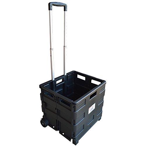 MP Essentials Robuster falt- und tragbarer Transportwagen fürs Shopping und Camping, 40 kg Maximalgewicht schwarz