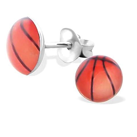SL-collection de boucles d'oreille en argent 925 en forme de ballon de basket picture :