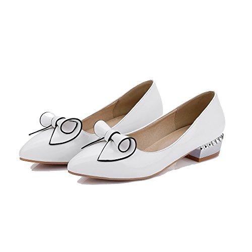 AgooLar Damen Ziehen Auf Niedriger Absatz Pu Leder Rein Spitz Zehe Pumps Schuhe Weiß