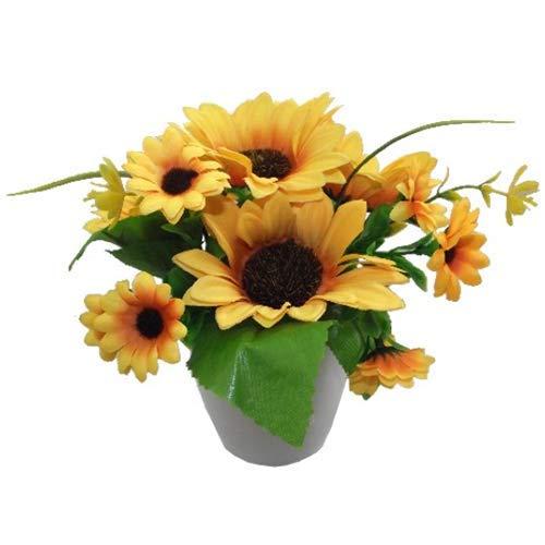 Fs - composizione di girasoli artificiali, in vaso con un sacco di foglie, 20 cm