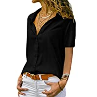 CRYYU Women's Button Down Top Short Sleeve Pure Color Shirts Black M