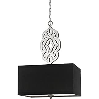 AF Lighting 8421-4H 4 Light Grill Pendant in Silver and Black Shade by AF Lighting
