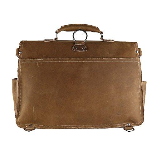 Othilar Herren Leder Tasche Handtasche Aktentasche Schultertasche für Büro Schule (braun) braun