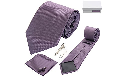 Coffret Santiago de Cuba - Cravate violet colombin, boutons de manchette, pince à cravate, pochette de costume