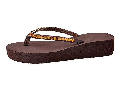 Minetom Femmes Haut Talon Sandals Tongs Wedge Flip-Flops Chaussures de Plage Café