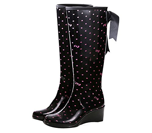 OCHENTA Bottes de pluie Waterproof compensees Noir+Rose