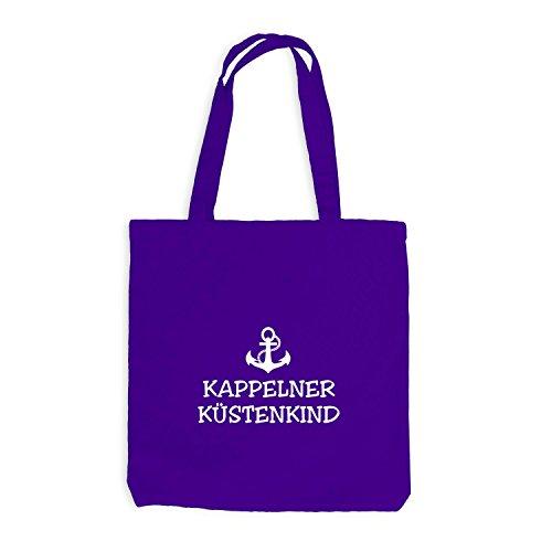 Jutebeutel - Kappelner Küstenkind - Anker Kappeln Schiffsanker Küste Maritim Violett